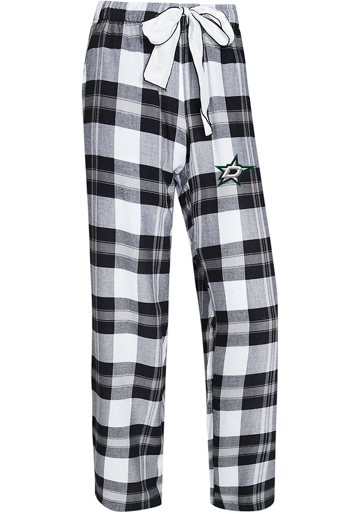 Dallas Stars Womens Black Headway Plaid Loungewear Sleep Pants - Image 1