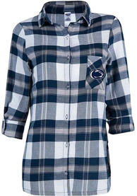 Penn State Nittany Lions Womens Headway Plaid Sleep Shirt - Navy Blue