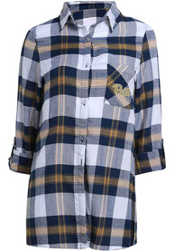 Pitt Panthers Womens Headway Plaid Sleep Shirt - Navy Blue