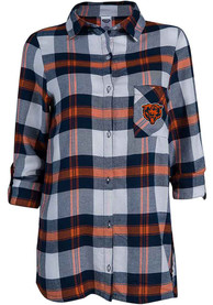 Chicago Bears Womens Headway Plaid Sleep Shirt - Navy Blue