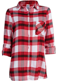 Detroit Red Wings Womens Headway Plaid Sleep Shirt - Red