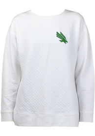 North Texas Mean Green Womens Lunar Quilted Crew Sweatshirt - White