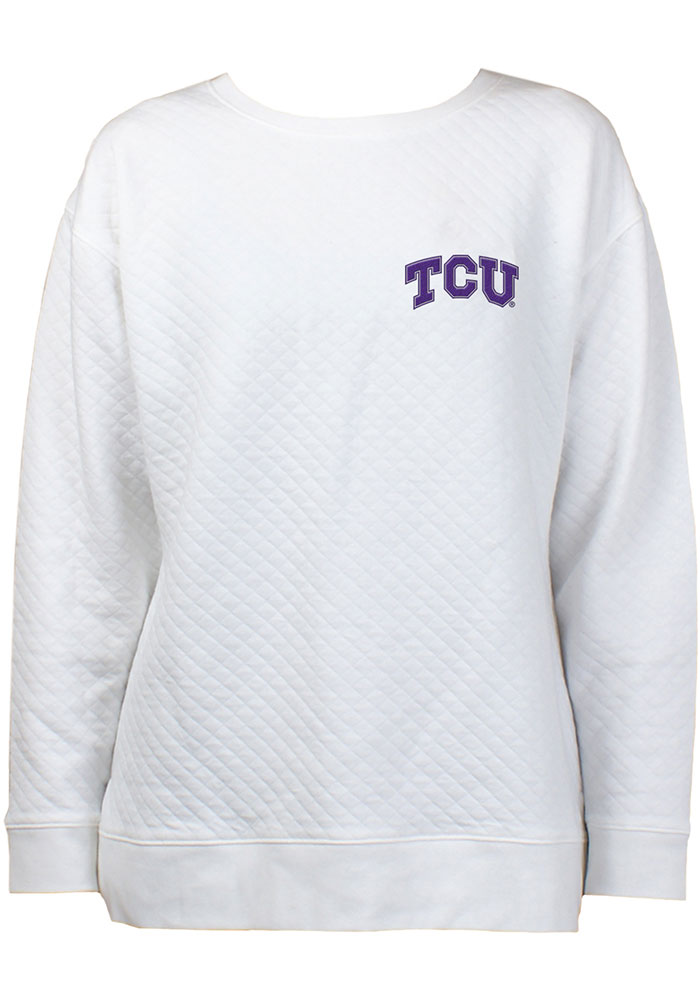 TCU Horned Frogs Womens Lunar Quilted White Crew Sweatshirt