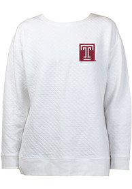 Temple Owls Womens Lunar Quilted White Crew Sweatshirt