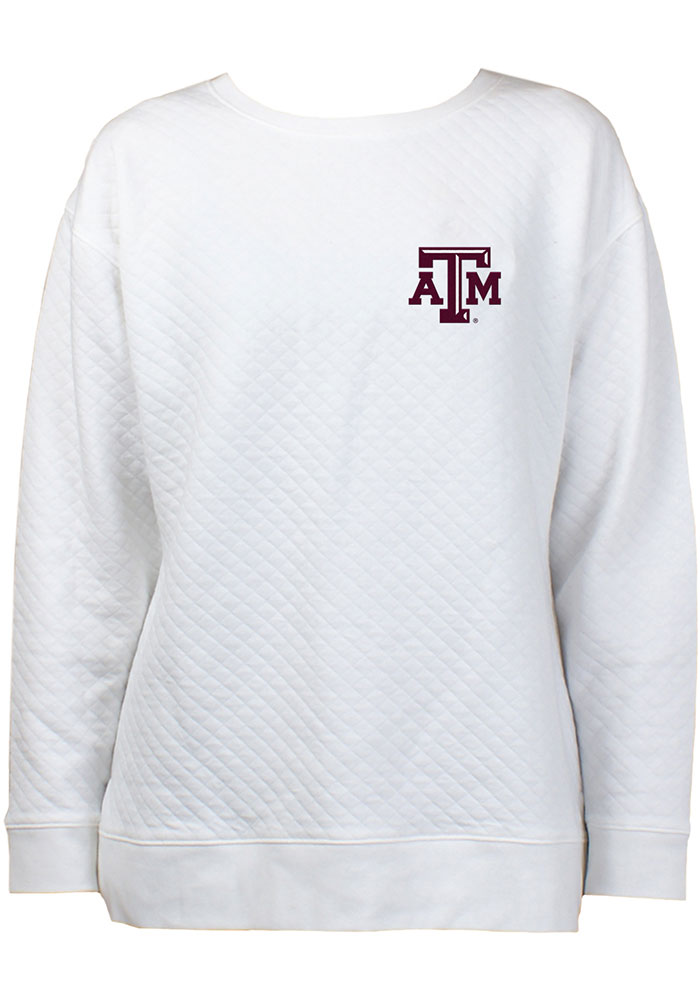 Texas A&M Aggies Womens White Lunar Quilted Crew Sweatshirt - Image 1