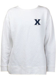Xavier Musketeers Womens Lunar Quilted White Crew Sweatshirt