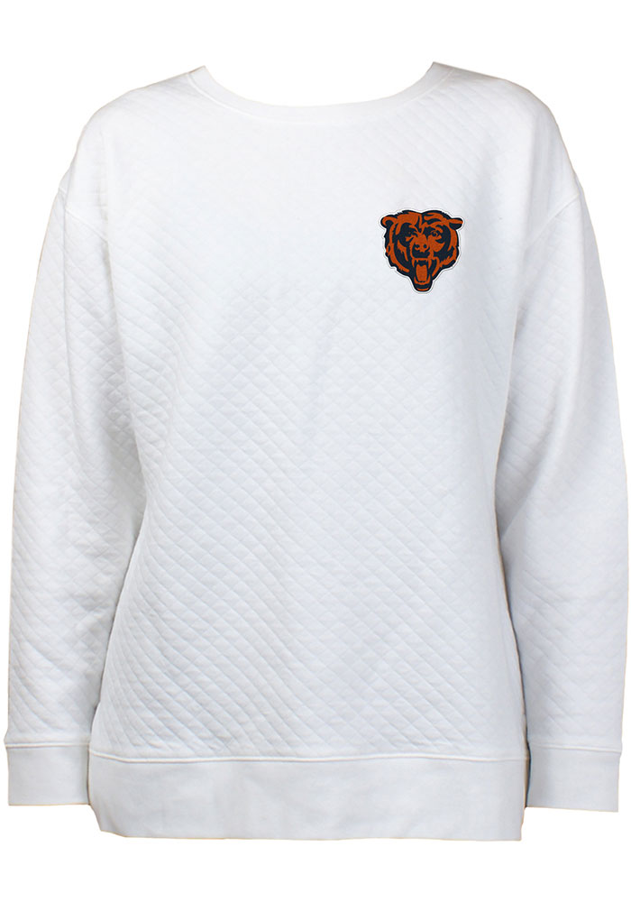 Chicago Bears Womens White Lunar Quilted Crew Sweatshirt - Image 1