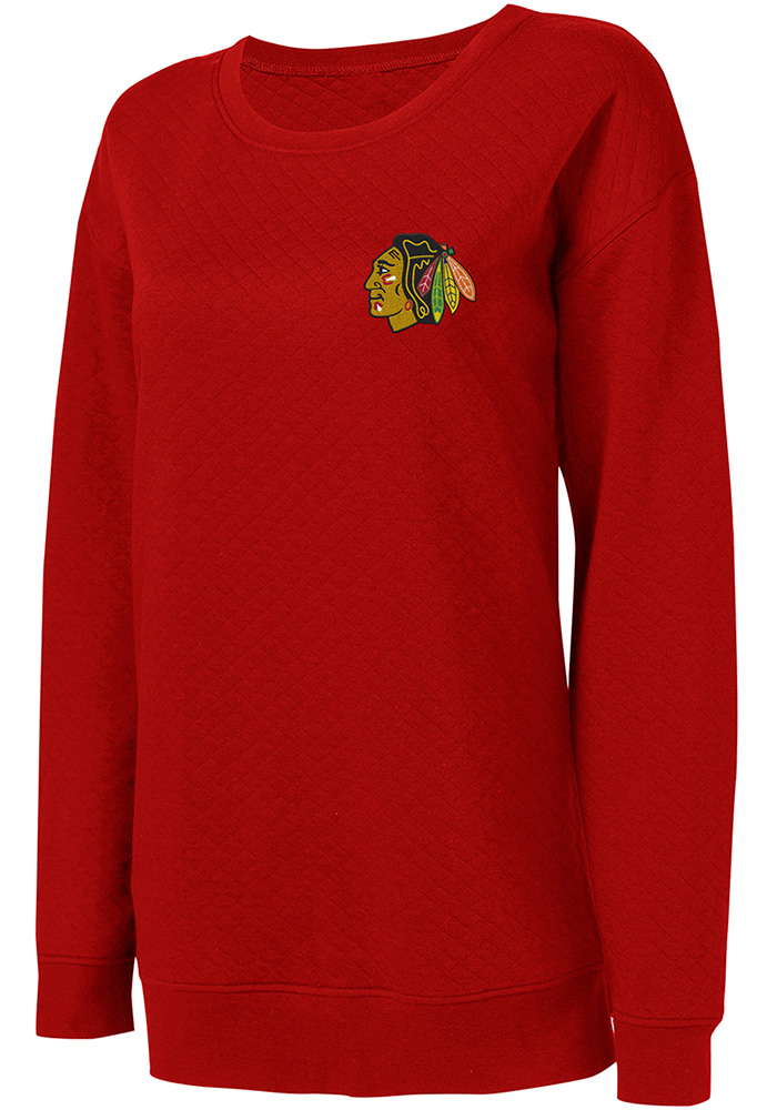 Chicago Blackhawks Womens Red Lunar Quilted Crew Sweatshirt - Image 1