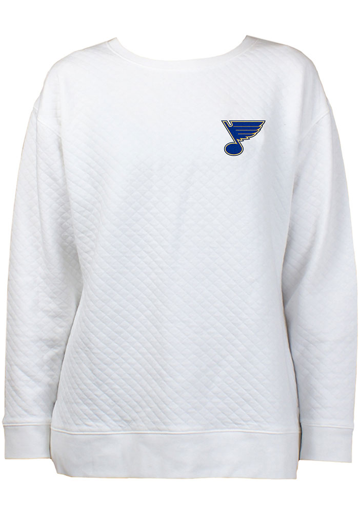 St Louis Blues Womens White Lunar Quilted Crew Sweatshirt - Image 1