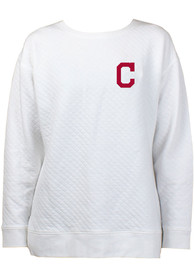 Cleveland Indians Womens Lunar Quilted White Crew Sweatshirt