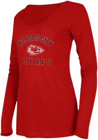 Kansas City Chiefs Womens Marathon Red LS Tee