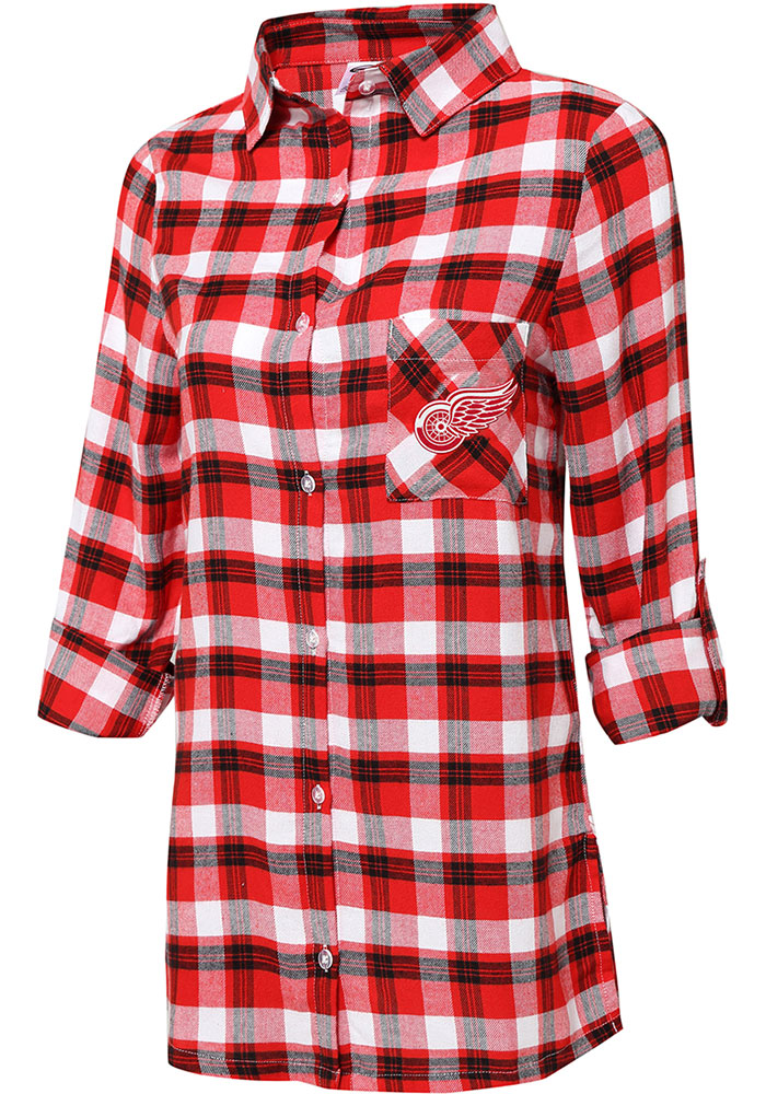 Detroit Red Wings Womens Red Piedmont Loungewear Sleep Shirt - Image 1