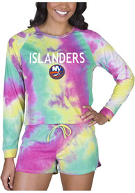 New York Islanders Womens Tie Dye Long Sleeve PJ Set - Yellow