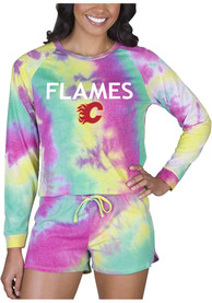 Calgary Flames Womens Tie Dye Long Sleeve PJ Set - Yellow