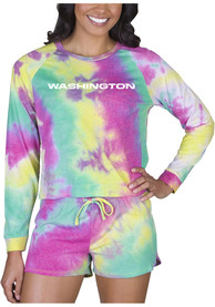 Washington Football Team Womens Tie Dye Long Sleeve PJ Set - Yellow