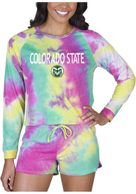 Colorado State Rams Womens Tie Dye Long Sleeve PJ Set - Yellow