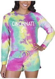 Cincinnati Bearcats Womens Tie Dye Long Sleeve PJ Set - Yellow