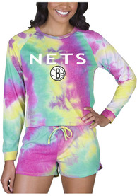 Brooklyn Nets Womens Tie Dye Long Sleeve PJ Set - Yellow