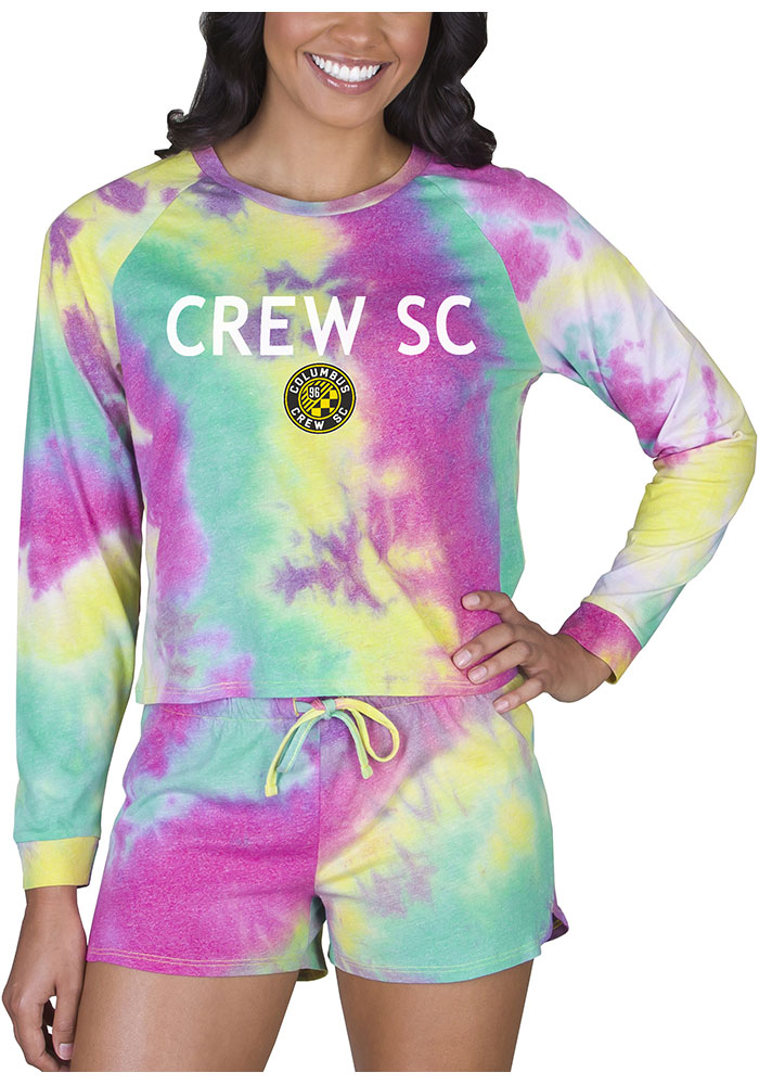 Columbus Crew Womens Tie Dye Long Sleeve PJ Set - Yellow