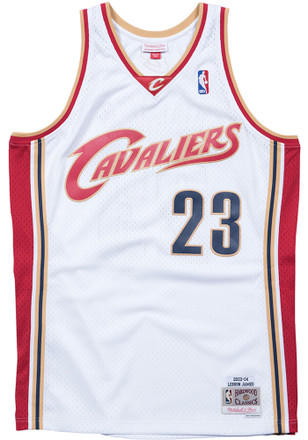 LeBron James Mitchell and Ness Cleveland Cavaliers White Throwback  Basketball Jersey 37aa9d07ce26