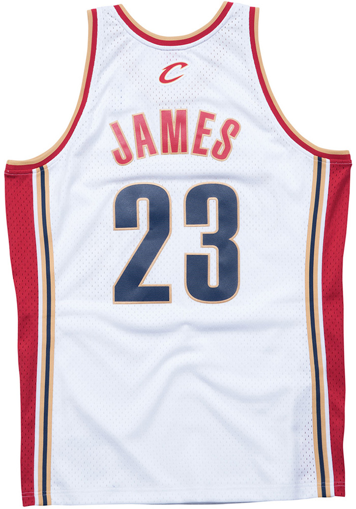 LeBron James Mitchell and Ness Cleveland Cavaliers Mens White Throwback Jersey - Image 2