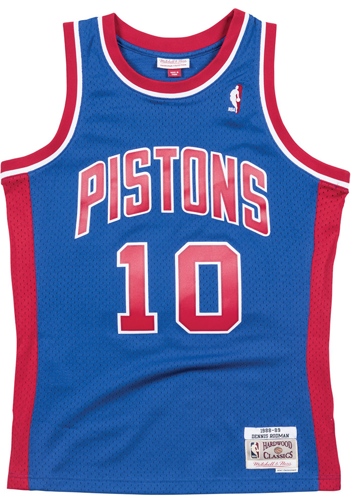 Dennis Rodman Mitchell and Ness Detroit Pistons Mens Blue Throwback Jersey  - Image 1 97bc90db1