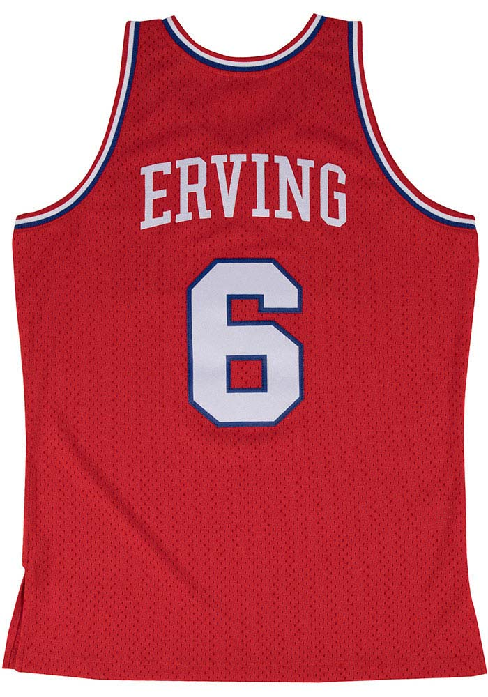 Julius Erving Mitchell and Ness Philadelphia 76ers Mens Red Throwback Jersey - Image 1