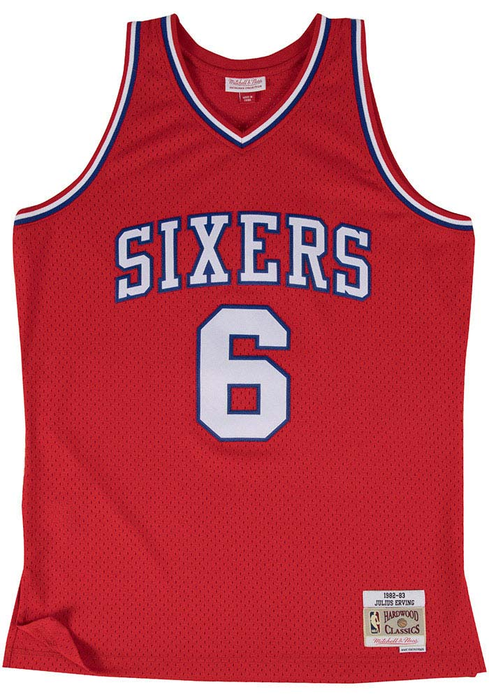 Julius Erving Mitchell and Ness Philadelphia 76ers Mens Red Throwback Jersey - Image 2