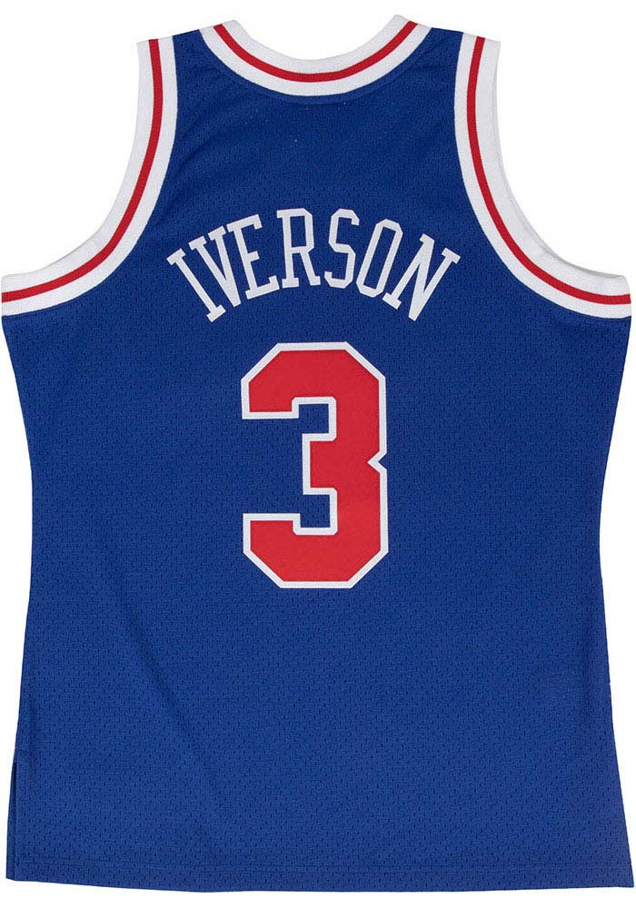 Allen Iverson Mitchell and Ness Philadelphia 76ers Mens Blue Throwback Jersey - Image 1