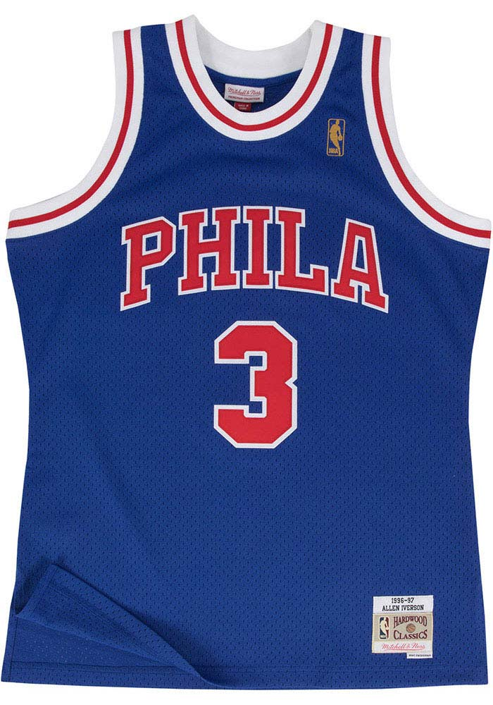 Allen Iverson Mitchell and Ness Philadelphia 76ers Mens Blue Throwback Jersey - Image 2