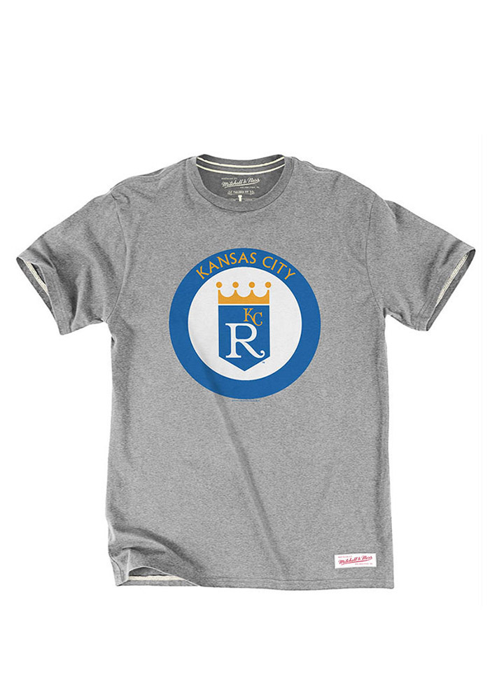 Mitchell and Ness Kansas City Royals Mens Grey Retro Crown Short Sleeve Fashion T Shirt - Image 1
