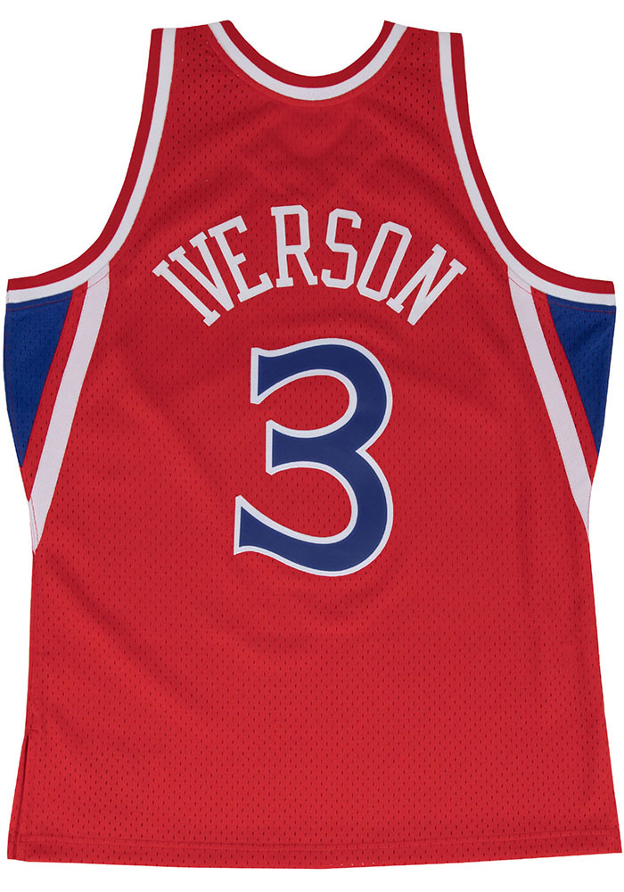 Allen Iverson Mitchell and Ness Philadelphia 76ers Mens Red Throwback Jersey - Image 1