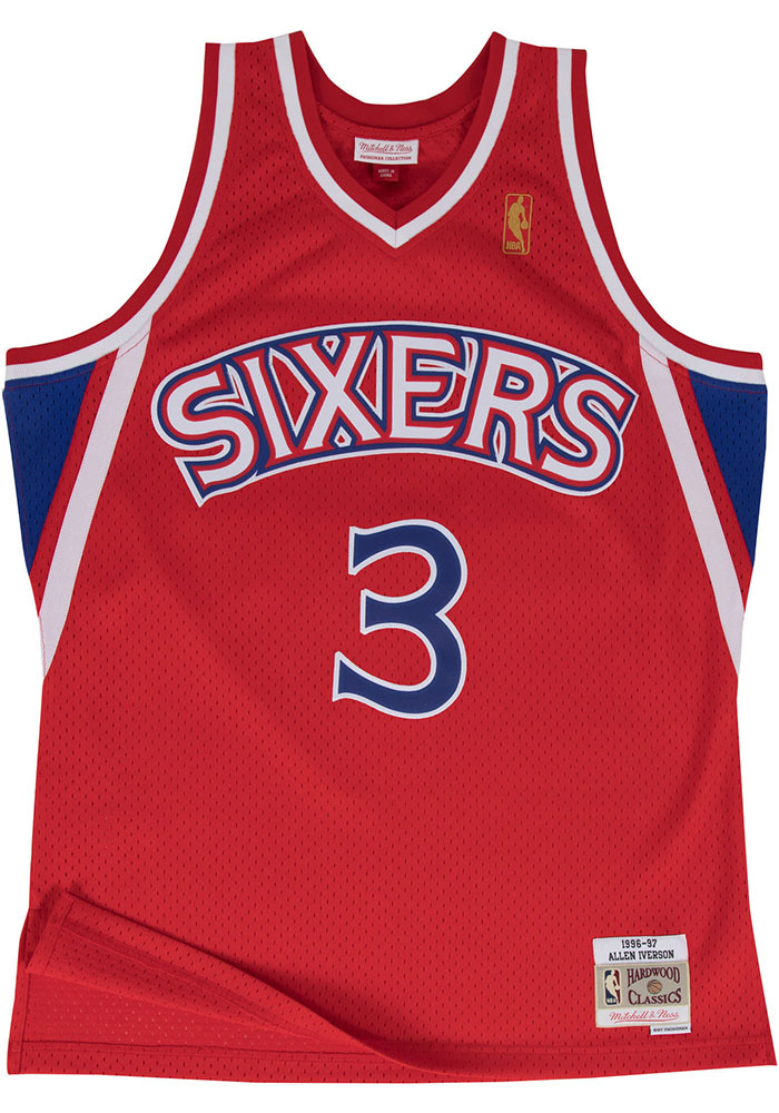 Allen Iverson Mitchell and Ness Philadelphia 76ers Mens Red Throwback Jersey - Image 2