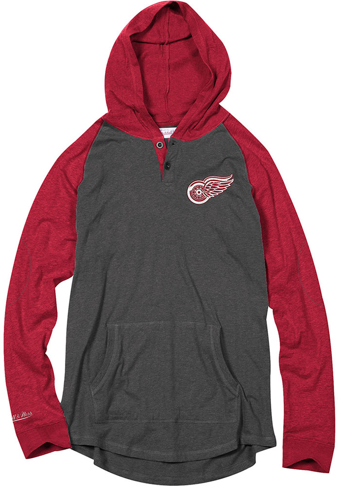 Mitchell and Ness Detroit Red Wings Mens Charcoal Home stretch Fashion Hood - Image 1