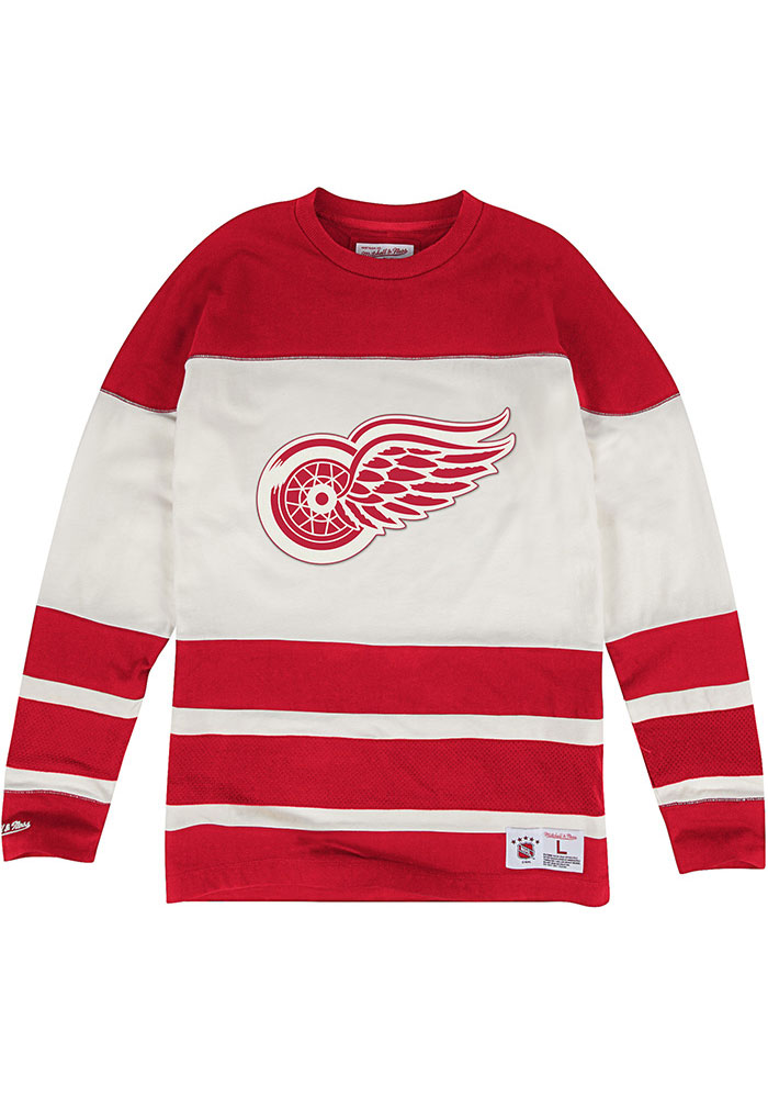 Mitchell and Ness Detroit Red Wings Charcoal Changing on the fly Long Sleeve T Shirt - Image 1