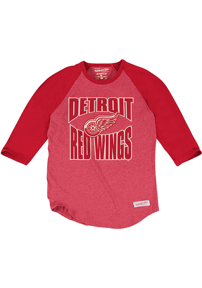 Mitchell and Ness Detroit Red Wings Red Team practice Long Sleeve Fashion T Shirt - Image 1