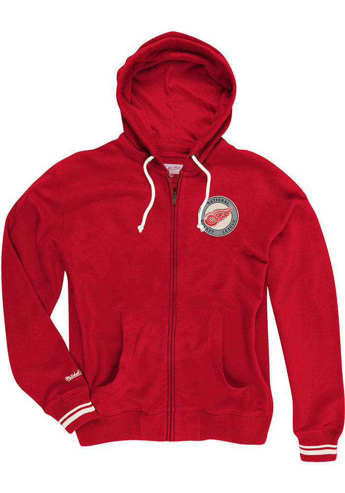 Mitchell and Ness Detroit Red Wings Mens Red Goal tender Long Sleeve Full Zip Jacket - Image 1