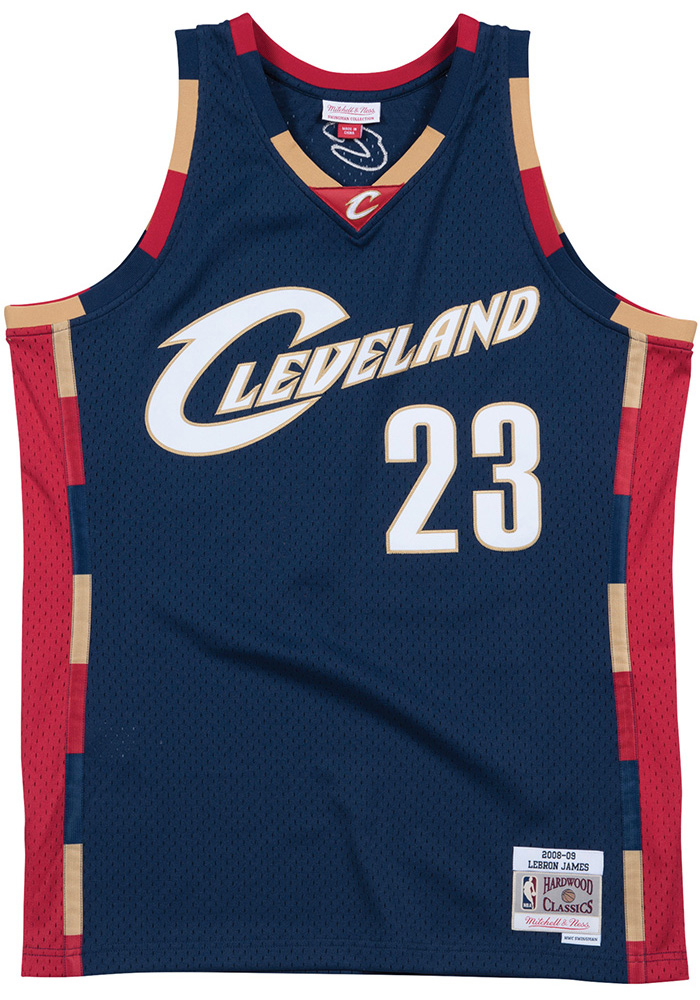 LeBron James Mitchell and Ness Cleveland Cavaliers Mens Navy Blue Throwback  Jersey - Image 1
