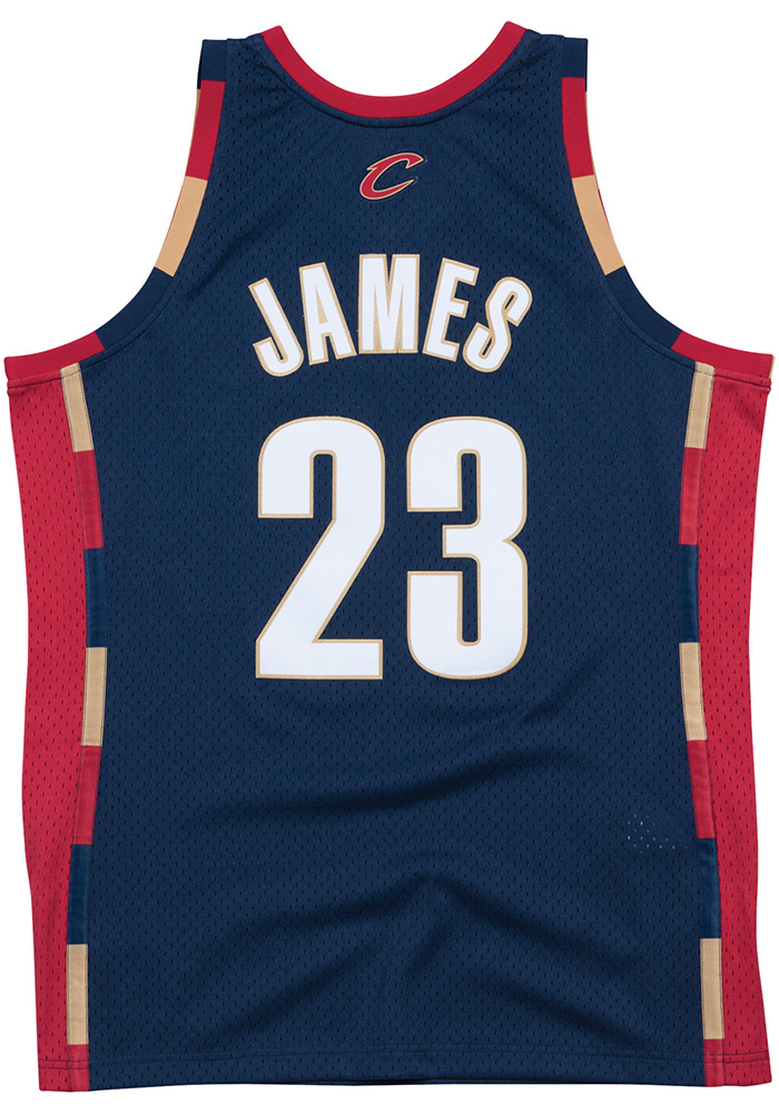 LeBron James Mitchell and Ness Cleveland Cavaliers Mens Navy Blue Throwback Jersey - Image 2