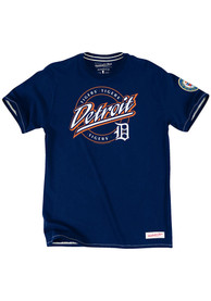 Mitchell and Ness Detroit Tigers Navy Blue On deck Tee