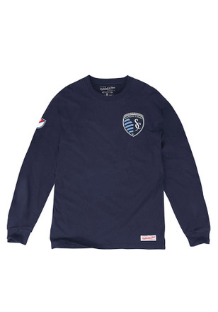 Mitchell and Ness Sporting Kansas City Mens Navy Blue Issue Fashion Tee
