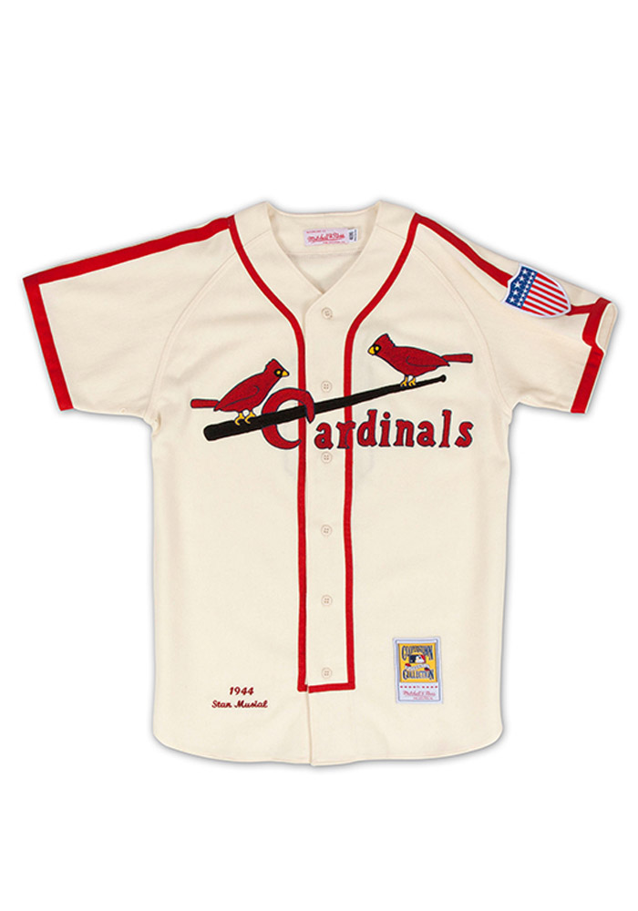 Stan Musial St Louis Cardinals Mens Cooperstown Jersey - White - Image 1
