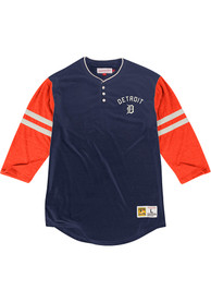 Mitchell and Ness Detroit Tigers Navy Blue Home Stretch Fashion Tee
