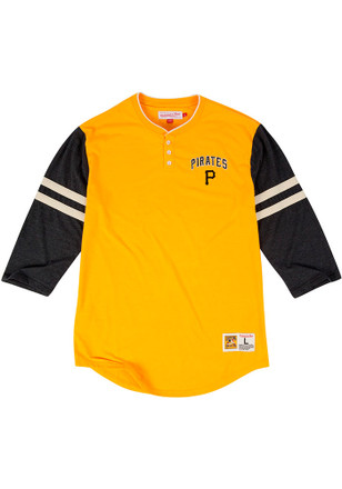 Mitchell and Ness Pitt Pirates Mens Gold Home Stretch Fashion Tee