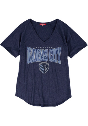 Mitchell and Ness Sporting Kansas City Womens Navy Blue Home Stretch T-Shirt