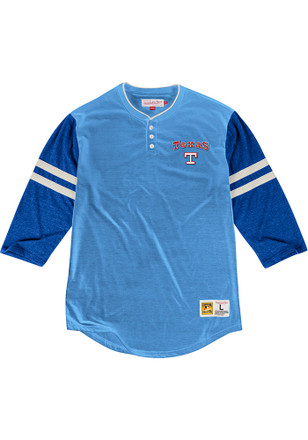 Mitchell and Ness Texas Rangers Mens Light Blue Home Stretch Fashion Tee