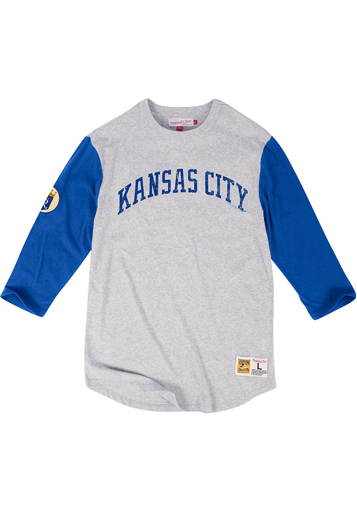 Mitchell and Ness Kansas City Royals Grey Scoring Position Long Sleeve Fashion T Shirt - Image 1