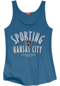 Mitchell and Ness Sporting Kansas City Womens Blue Seal The Win Tank Top