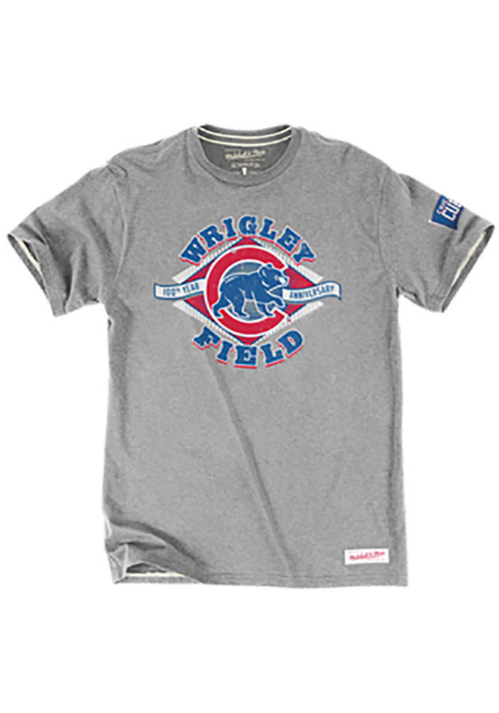 Mitchell and Ness Chicago Cubs Mens Grey Tailored Short Sleeve Fashion T Shirt - Image 1