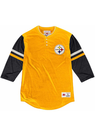 Mitchell and Ness Pittsburgh Steelers Mens Yellow Home Stretch Fashion Tee